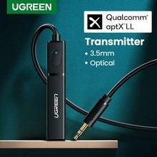 Ugreen-adaptador de sonido, por Bluetooth 5.0, transmisión de sonido y música para auriculares TV PC PS4, cable óptico aptX LL 3,5mm Aux SPDIF 3,5