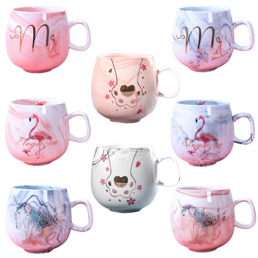 INS Flamingo Coffee Cup Ceramic Mug Friends Travel Mugs Cute Cat Foot Porcelain Christmas Couple Mug