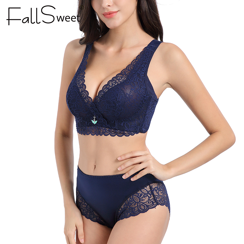 FallSweet Women Sexy Ultra Thin Bra Set See Through Lingerie Lace Underwear Set