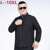 10XL 8XL New Spring Autumn Mens Bomber Jacket Stand Collar Casual Windbreaker Male Blue Baseball Jackets Men Thin High Quality