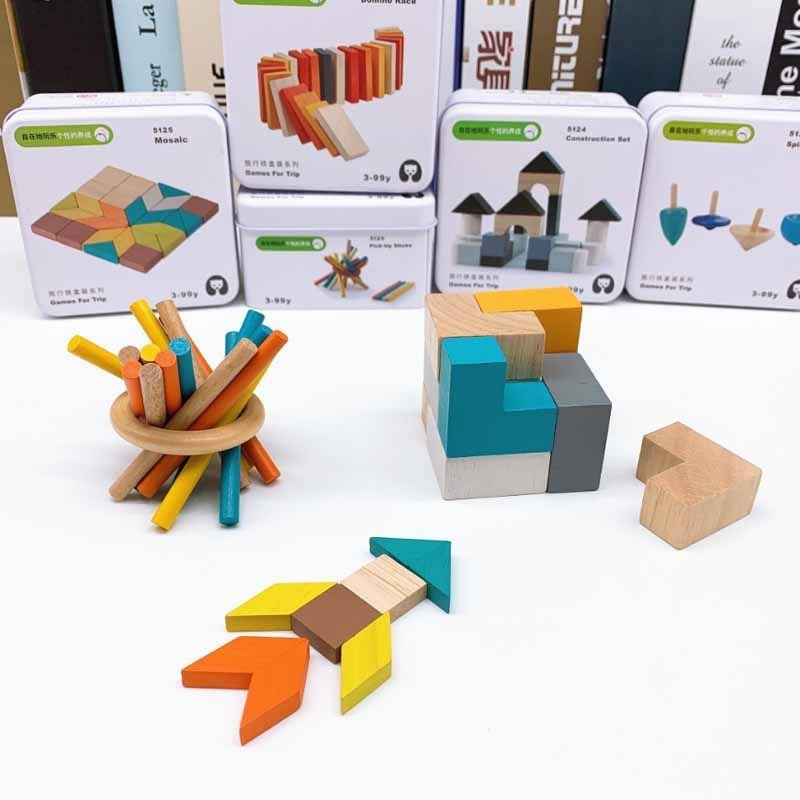 Kids Educational 3D Wood Hemisphere Balance Stacking Game Wooden Toy With Bag