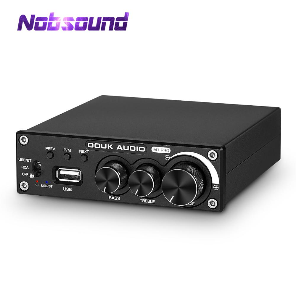 Nobsound Bluetooth 5.0  Power Amplifier 100W/320W Stereo 2.0 Channel Subwoofer Amp Treble Bass Adjust USB Lossless Music Player