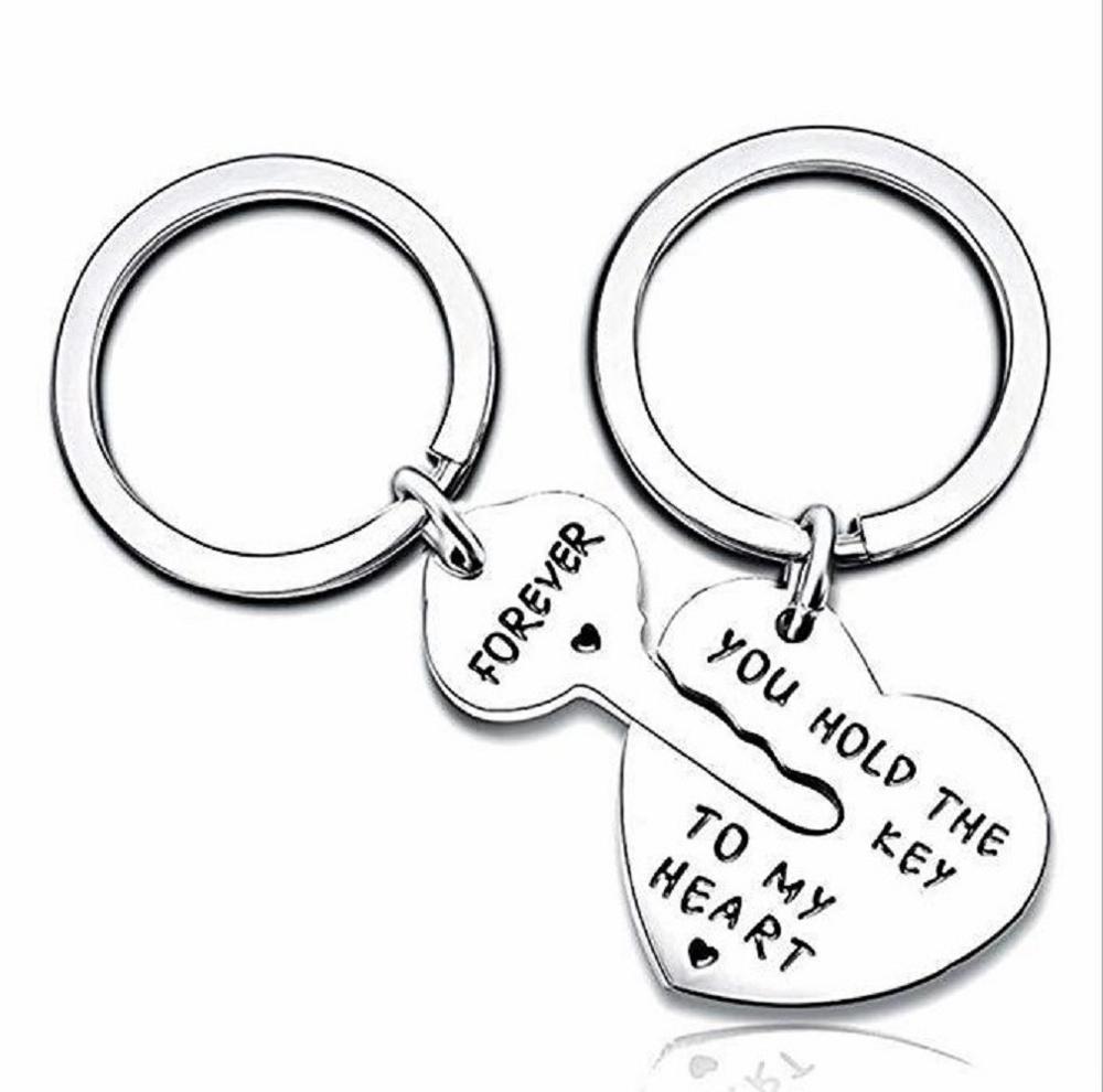 Personalized Keychain Custom Key and Heart Key Chain Heart Keychain Couple Boyfriend Husband Gift Valentines Day