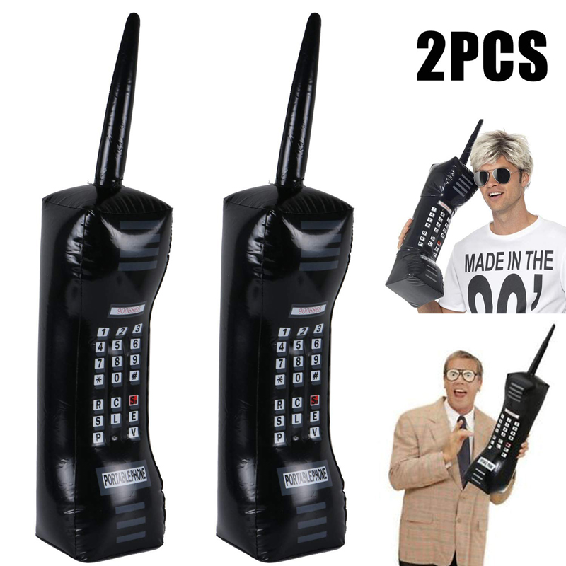 2PCS Inflatable Mobile Phone 80's 90's Party Decorations Supplies Retro Cell Dress Accessory Phone Booth Props Kds Inflated Toy