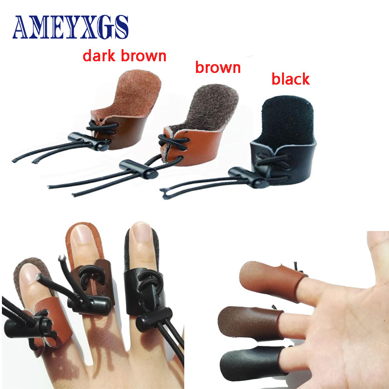 1X Leather Thumb Finger Guard Ring Adjustable Protector Archery Hunting 3CAU