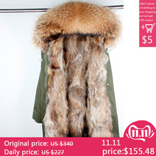 Real Fur Parka Men Winter Jacket Real Raccoon Fur Hooded Coat Nature Raccoon Fur Lining Jackets Man Real Fur Coat cheap Thick (Winter) With Raccoon Dog Fur Collar MAOMAOKONG Solid REGULAR Slim COTTON Liner Detachable Casual zipper Broadcloth