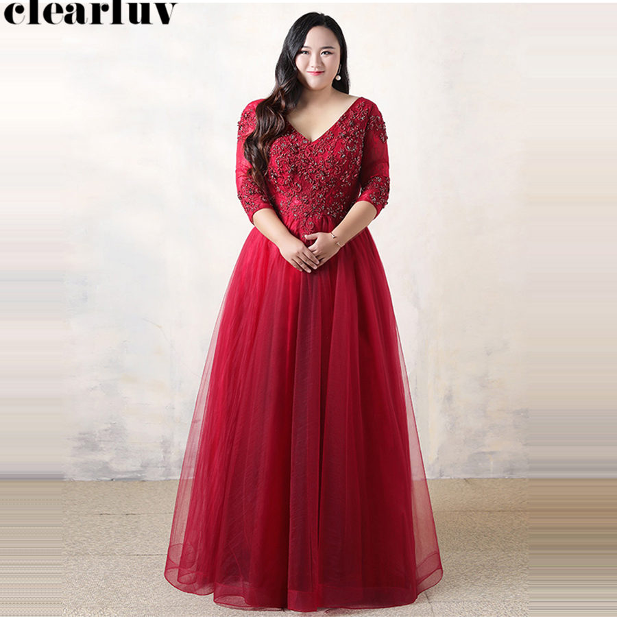 Evening Dress Plus Size V-neck Lace Up Women Party Dresses 2019 T048 Three Quarter Sleeve Robe De Soiree Beading Evening Gowns