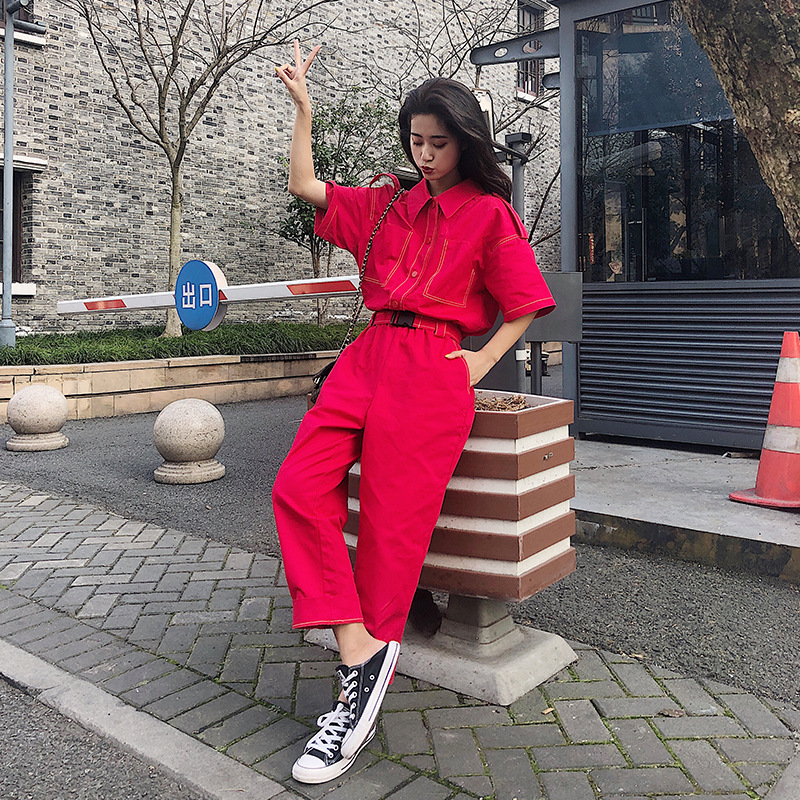 Women Korean Solid Color Loose Casual Straight Harem Pant Jumpsuit Female Streetwear Hip Hop Overalls Harajuku Sashes Trousers