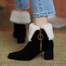 Meotina/Женская обувь натуральная шерсть Меховые сапожки средней