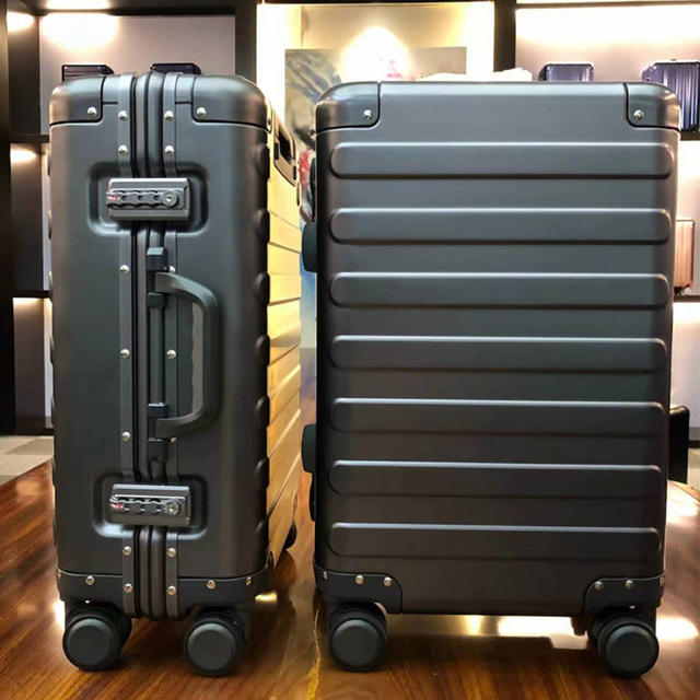 100% Aluminum Alloy Business Travel Hard Shell Spinner Pull Rod Box TSA Lock Cabin Trolley Suitcase 20″24inch Carry on Luggage