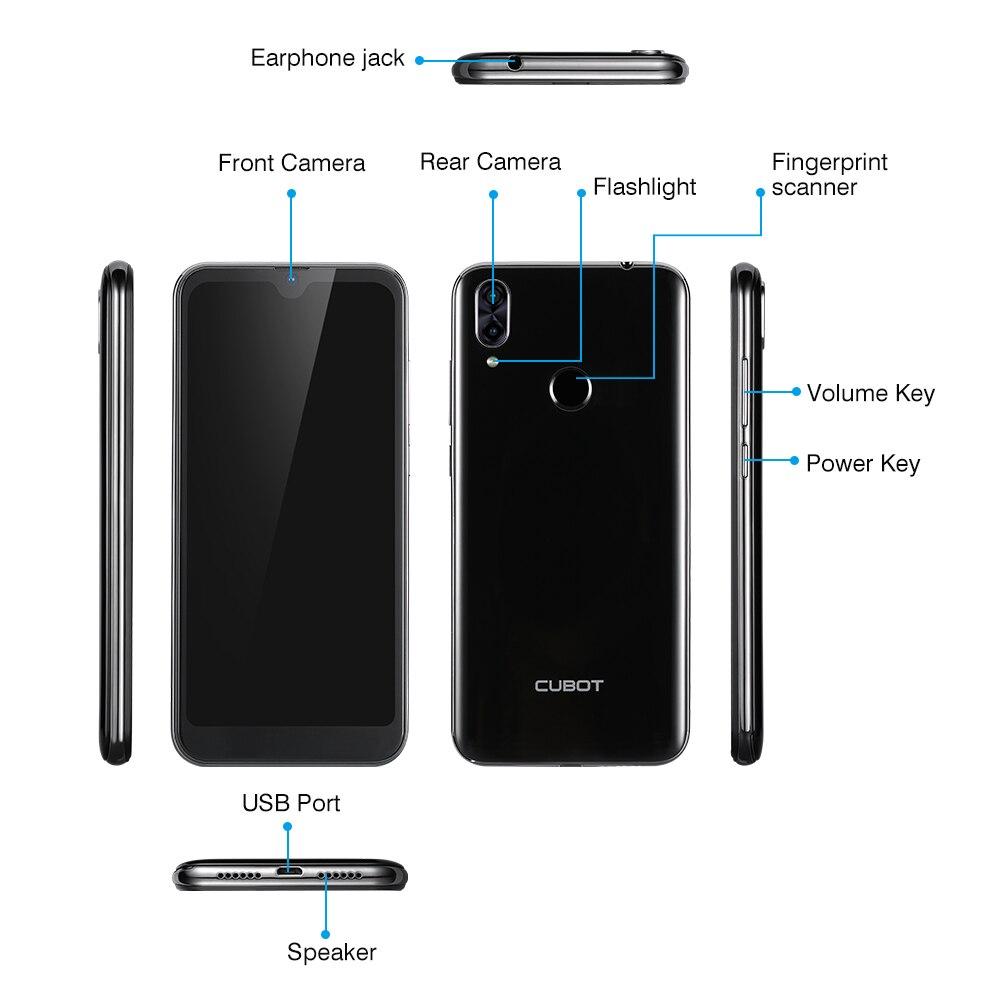 Cubot R19 4G Smartphone 5.71 ''Android 9.0 Quad Core empreinte digitale visage ID téléphone portable 3GB RAM 32GB ROM - 6
