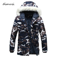 DIMUSI Winter Men Jackets Thick Warm Parkas Hooded Coats Mens Casual Fur Collar Army Camouflage Windbreaker Jackets Clothing 5XL