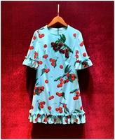 Baogarret Runway New Summer Cherry Printed Blue Dress Women's Elegant Ruffles Half Sleeve Beading Loose Casual Fruit Short Dress