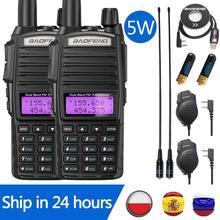 2 pz Baofeng UV 82 5W portatile UV82 Walkie Talkie Dual Band 2 PTT VHF UHF UV 82 Ham ricetrasmettitore Radio amatoriale 82