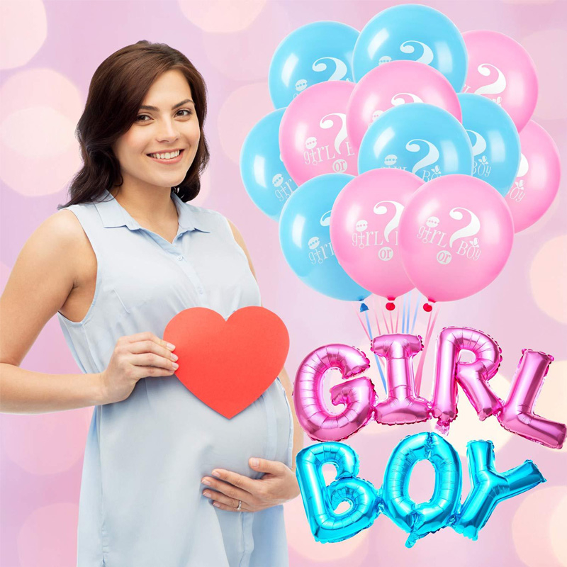 18pcs Pink Blue Printed Latex Balloons Decorations Foil Boy Girl Ballon Gender Reveal Party Birthday Event Baby Shower Parties