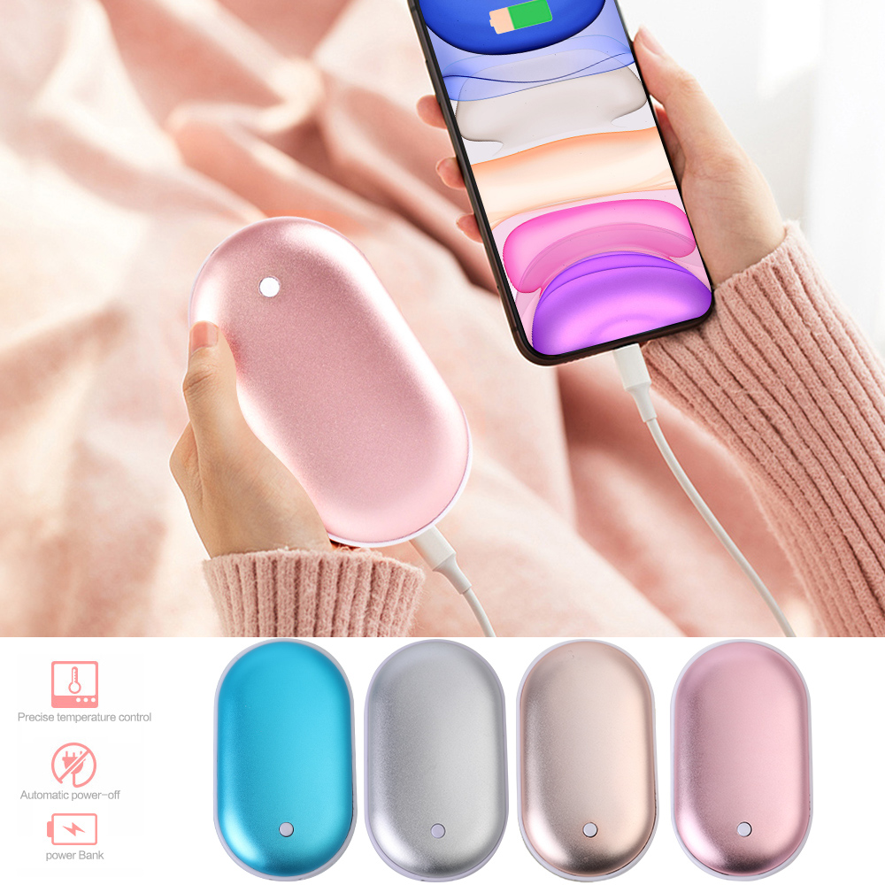 5000mAh USB Rechargeable Electric Hand Warmer Winter Pebbles Double-Side Heating Mini 5V Long-Life Pocket Power Bank 2 In 1