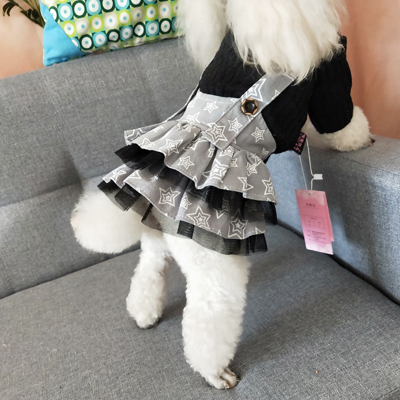 <font><b>Dog</b></font> <font><b>Dress</b></font> Autumn <font><b>Winter</b></font> Pet Romper Star Mesh Skirt Knitwear S M L XL For Pomeranian Bichon Puppy <font><b>Dog</b></font> <font><b>Dresses</b></font> Pet Supplies image