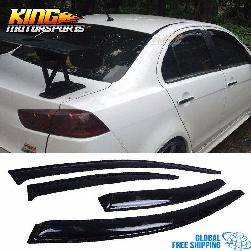 Fits 08-17 Mitsubishi Lancer Slim Acrylic Window Visors 4Pc