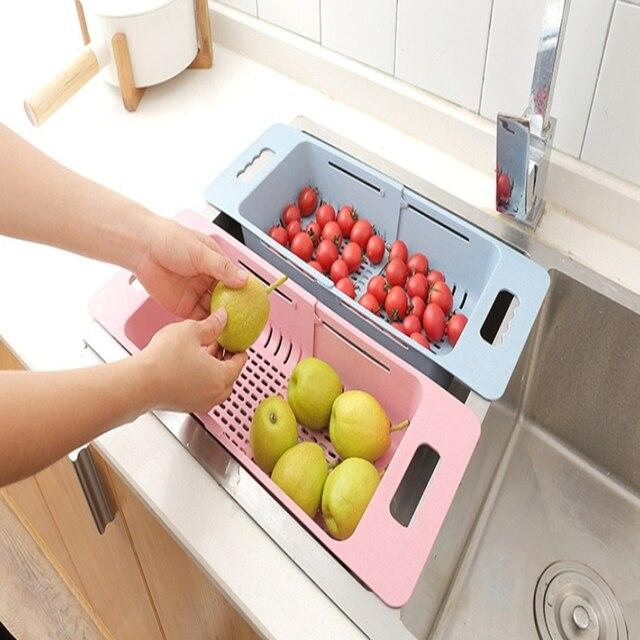 Fregadero ajustable de cocina, estante de secado, organizador, fregadero, cesta para vegetales, soporte de frutas, estante de almacenamiento, 48*18,5*8 cm