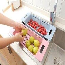 Küche Einstellbare Waschbecken Teller Trocknen Rack Organizer Sink Drain Korb Gemüse Obst Halter Lagerung Rack 48*18,5*8 cm