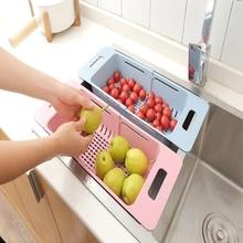 מטבח מתכווננת כיור צלחת ייבוש Rack ארגונית כיור ניקוז סל ירקות פירות בעל אחסון מתלה 48*18.5*8cm