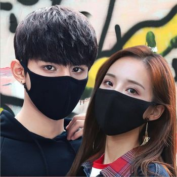 Anti Pollution Flu Face Masks  Black Mouth Mask Breathable Washable Cotton Dust-proof Mouth Masks With Replaceable Filter