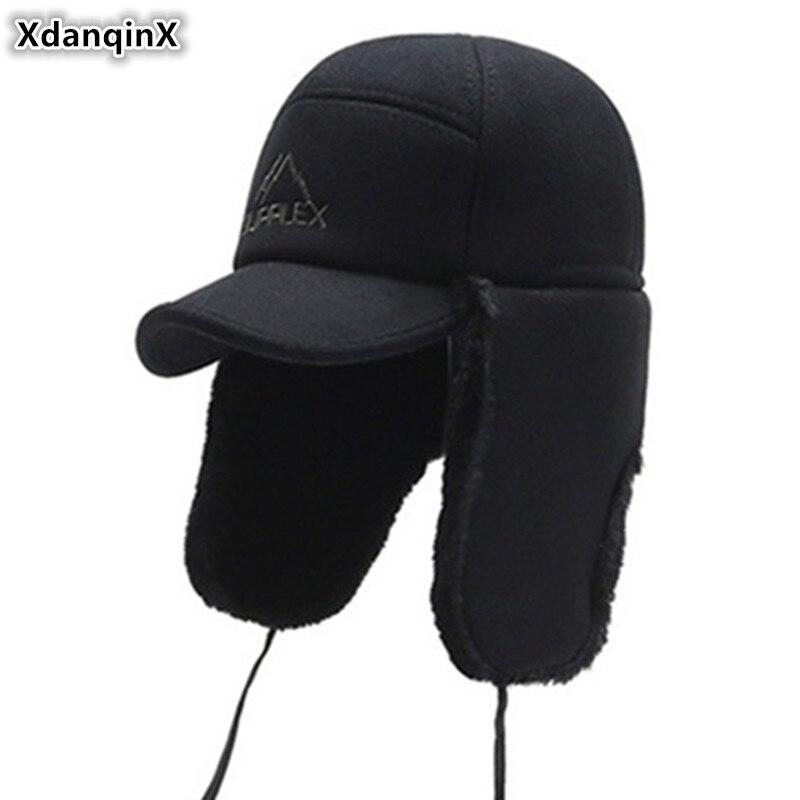 XdanqinX Winter Men Warm Hat Bomber Hats Thick Velvet Earmuffs Caps 2019 New Cold-proof Men's Winter Warm Ski Cap Snapback Caps