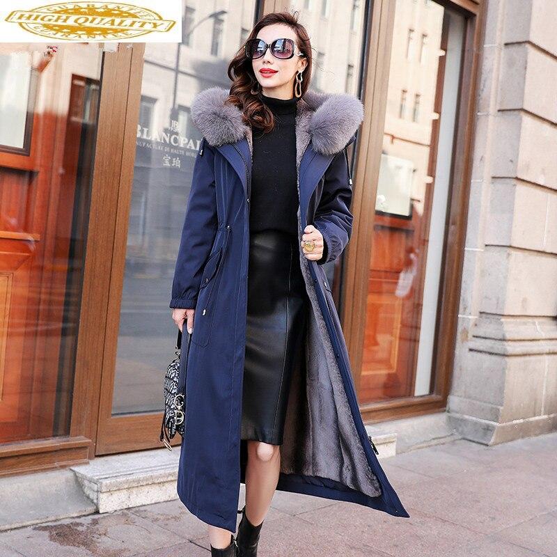 Real Fur Coat Female Rabbit Fur Parka 2020 Winter Jacket Women Fox Fur Collar Long Jackets For Women Plus Size MY3870