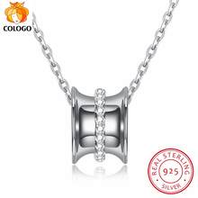 COLOGO 100% 925 Sterling Silver Sparkling Lucky Circle zircon pendant Hot Fashion Choker Necklace For Women Jewelry Gift LKN0005(China)