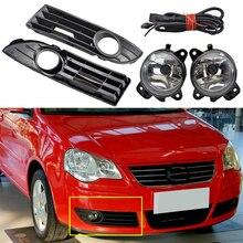 1pair Car Front Halogen Fog Lamp Fog Light + wire + Frame cover For Polo GTI 9N3 MK4 2005 2006 2007 2008 2009 2010