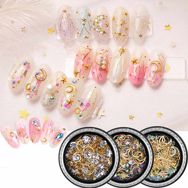 1Box 3D Nail Rhinestones DIY Gems Crystals Charming Mix Nail Art Decoration Rose Jewelry Gel Glitter DIY Decors Tips Decoration