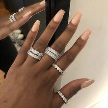 להקת טבעות 925 כסף נוצר Moissanite חתונת אירוסין מסיבת קוקטייל יהלומי טבעת חן תכשיטים סיטונאי