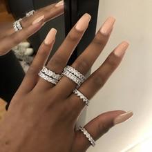 Conjunto de anillos de compromiso de moissanita para hombre y mujer, de plata de ley 925, sortija de diamante pavé para cóctel, joyería