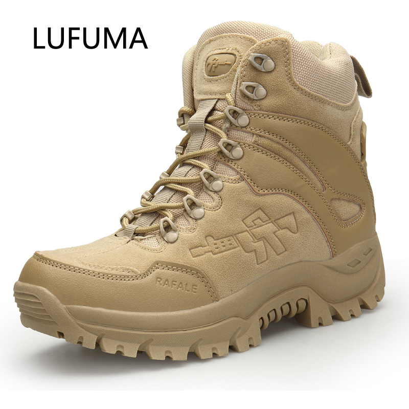 LUFUMA Men's Military Boot Combat Mens Chukka Ankle Boot Tactical Big Size Army Boot Male Shoes Safety Motocycle Boots