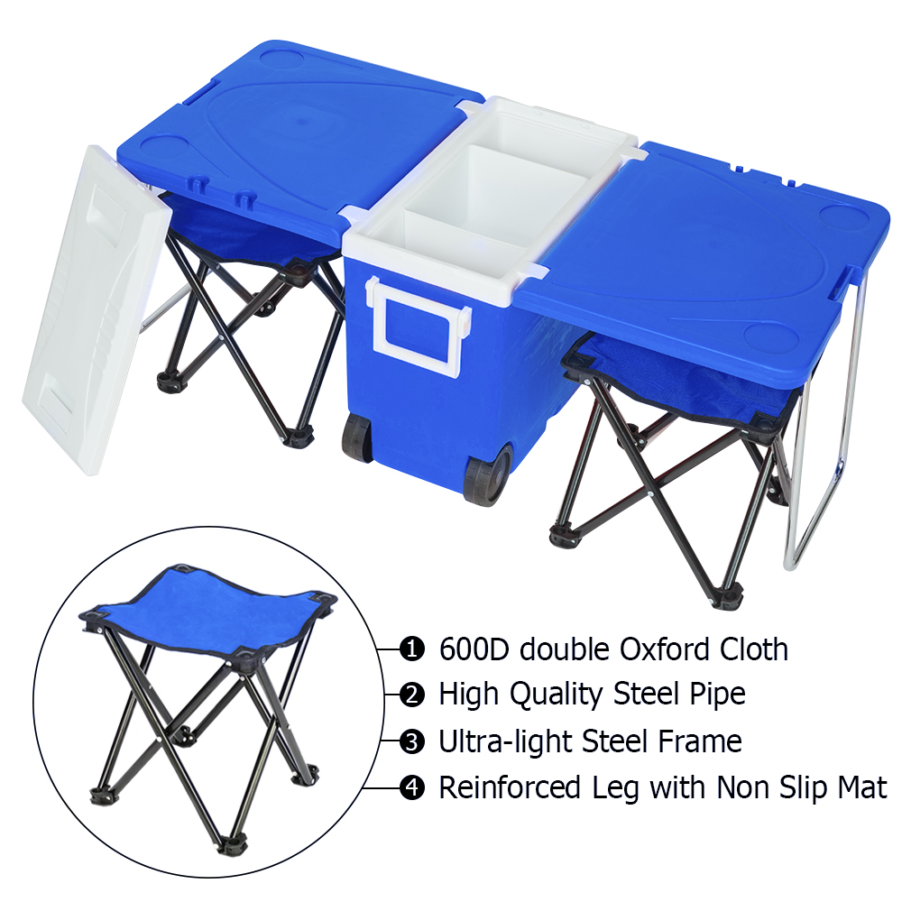 Outdoor Picnic Foldable Multi-function Rolling Cooler Upgraded Stool Red Tables And Chairs  Patio Furniture   Folding Table
