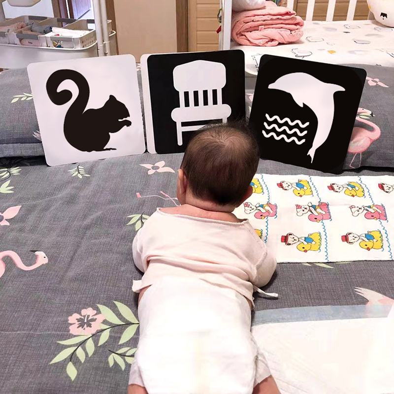 Cartão de brinquedo para estimulação visual bebê montessori, cartas flash preto e branco, alto contraste, estimulação visual, aprendizado 30