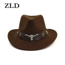 ZLD Ocidental do chapéu de vaqueiro dos homens 100% lã retro cinto largo punk cowgirl chapéu jazz tampão do estilo Britânico de couro novo de cabelo feminino