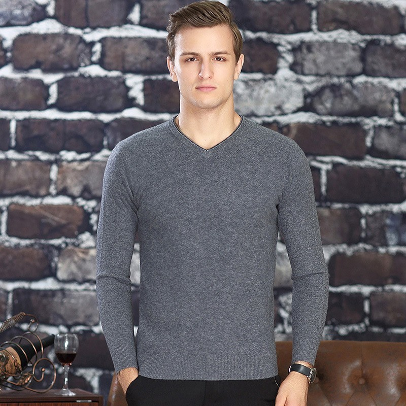 2020 Men Brand Luxury 100% Cashmere Business Casual Sweater V-Neck Winter Warm Slim Pullovers Male Thick Fashion Sweater Tops