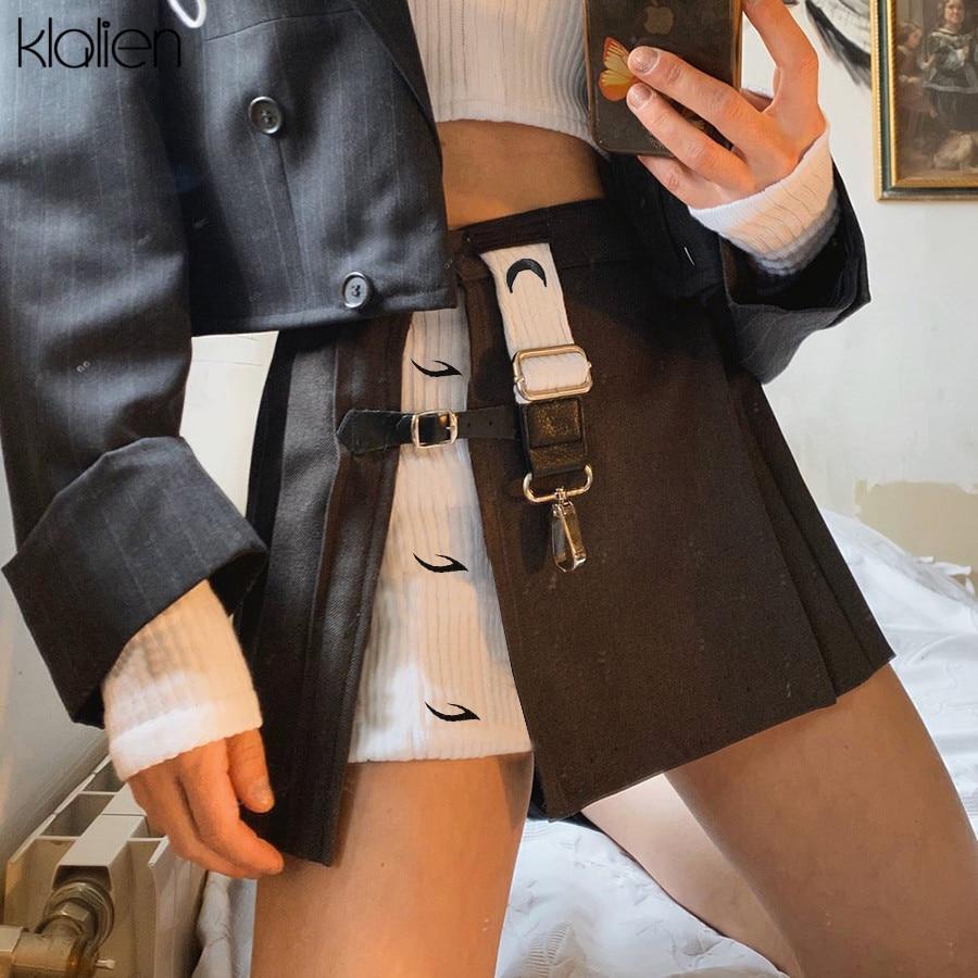 Женская мини-юбка с завышенной талией kalien, модная Лоскутная юбка трапециевидной формы, Повседневная офисная юбка