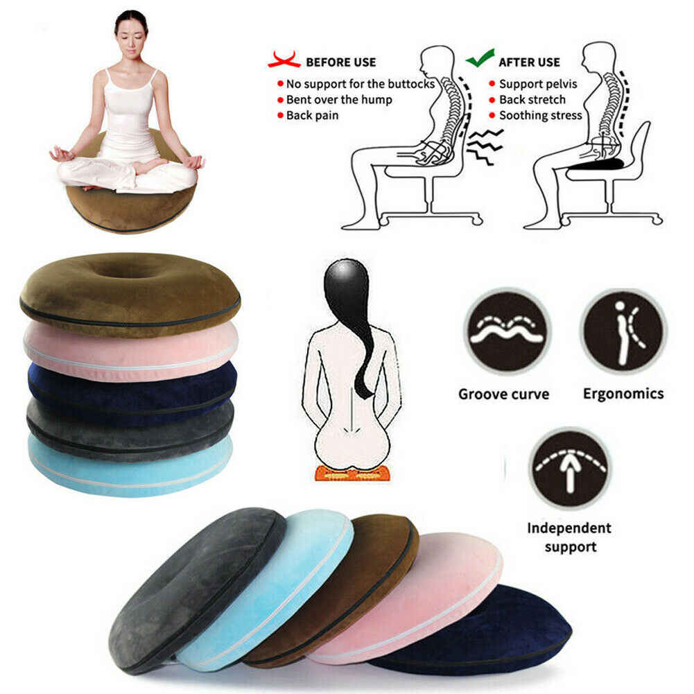Coccyx Pains Relief Memory Foam Comfort Donut Ring Chair Seat Cushion Pillow