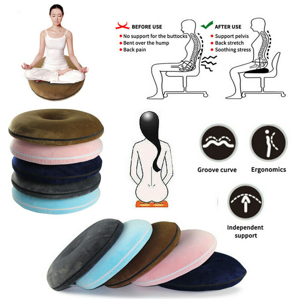 40*40cm Coccyx Pain Relief Ring Chair Seat Cushion Memory Foam Comfort Donut Pillow New