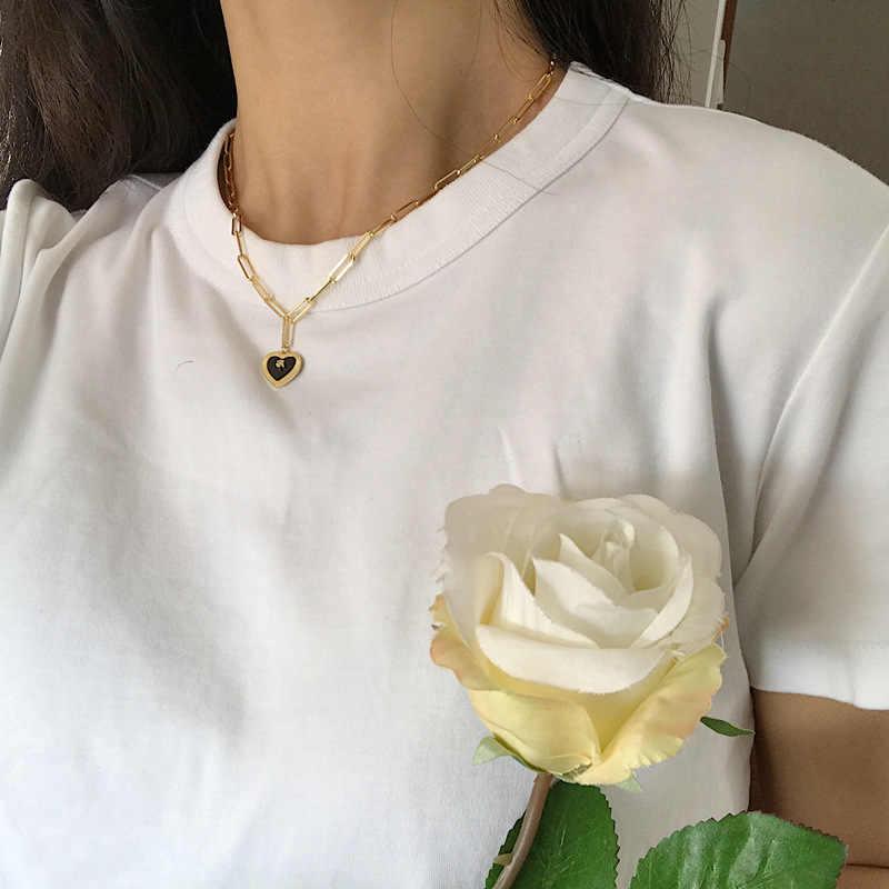 Collar con colgante de corazón de ágata negra Natural de Plata de Ley 925 de Plateada plateada, collar minimalista de estrella para mujer, joyería de cumpleaños 925