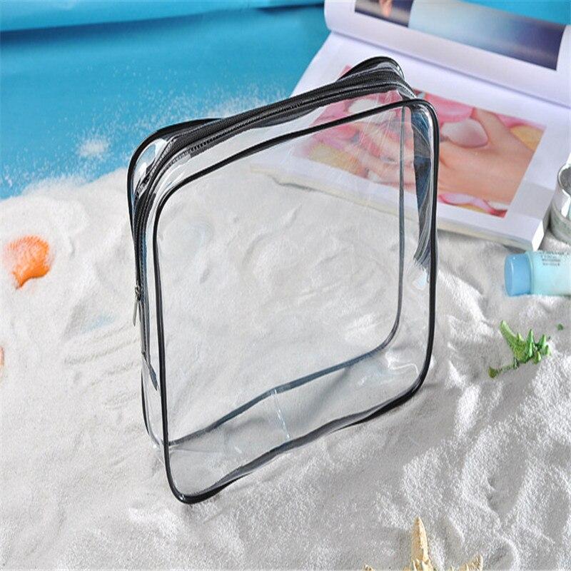Women Transparent Cosmetic Bag Arrival Travel Tote Bag Clear Plastic PVC Zipper Toiletry Bag Ladies Makeup Zip Pouch Case S M L