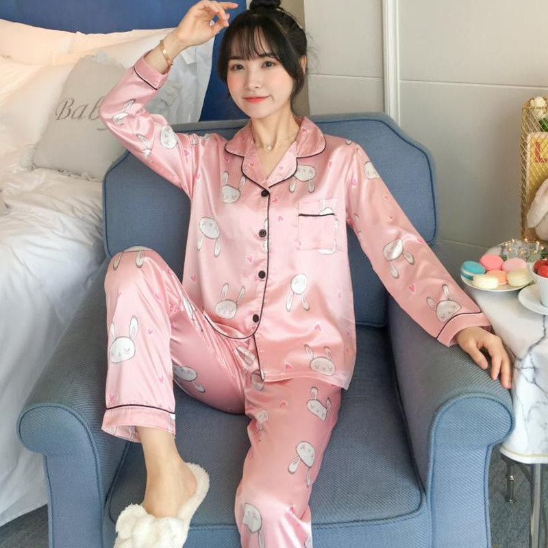 2019 Satin Pyjamas Women Pajama Set Lovely Cartoon Rabbit Printed Long Sleeve Silk Sleepwear Pink Pijama Mujer Female Nightsuit
