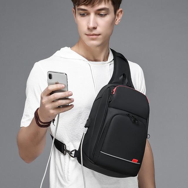 9.7 inch Waterproof USB Charging Men Crossbody Shoulder Bag