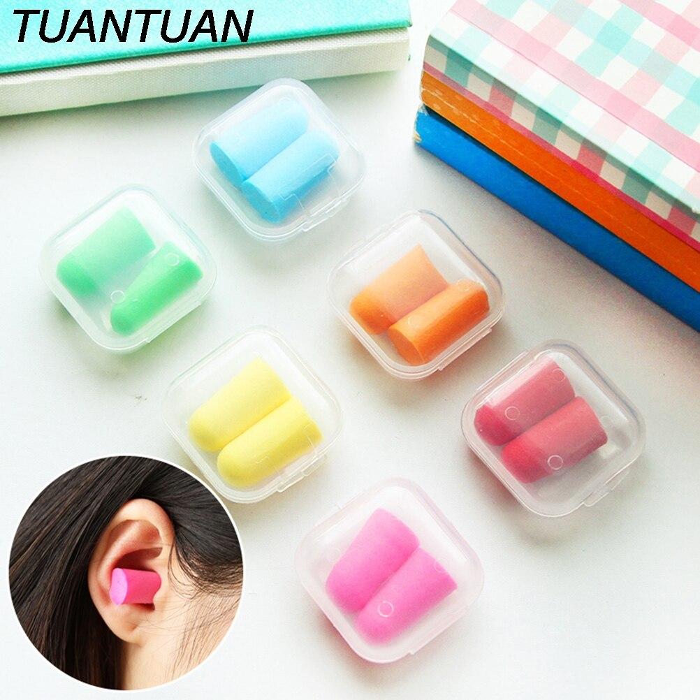 1 Pair Candy Ear plugs Protector Working Earplug Foam Plastic Box Packaging Anti Noise Sleep Study Helper