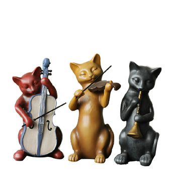 3pcs/sets Cats Orchestra  Music Band For Home Decoration Accessories Cartoon Figurines Resin Ornaments Sculpture Children Gifts