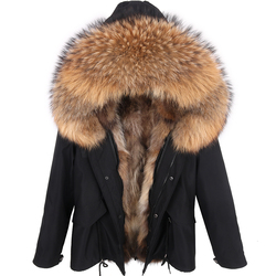 New Men Winter Jacket Short Real Fox Fur Coat Natural Raccoon Fur Hood Fox Fur Lining Outerwear Streetwear Man Short Coat Casual