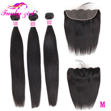 Funky Girl Malaysia Straight Ear To Ear Lace Frontal Closure With 3 Bundles Remy Hair Extension Human Hair Bundles with Frontal