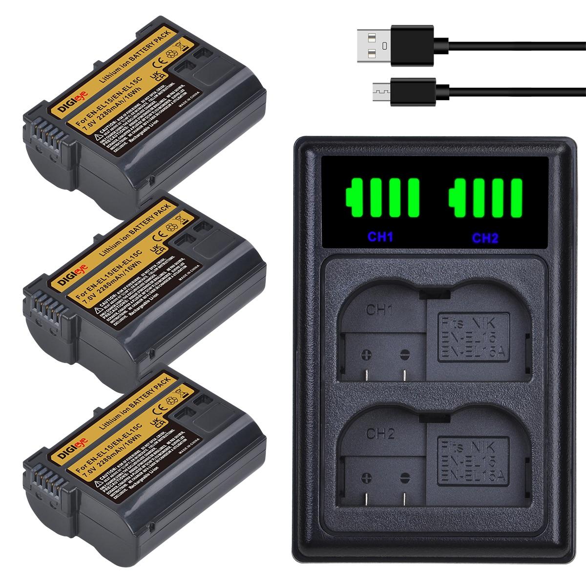 EN-EL15 EN EL15C Batterie + Chargeur pour Nikon D500, D610, D750, D800, D810, D850, D7000, D7100, D7500, Z5, Z6, Z6II, Z7, Z7II